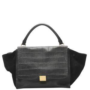 Celine Black Embossed Leather Trapeze Top Handle Bag