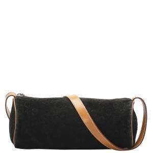 Celine Black Suede Macadam Crossbody Bag