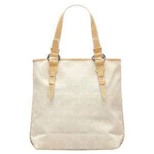 Celine White Macadam Canvas Tote Bag