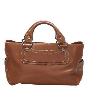 Celine Brown Leather Boogie Satchel Bag