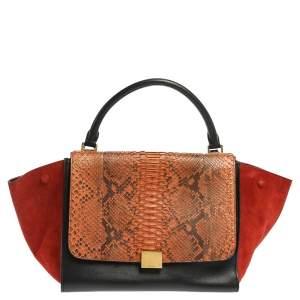 Celine Multicolor Python,Suede and Leather Medium Trapeze Top Handle Bag