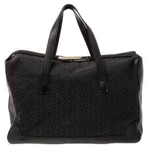 Celine Black Monogram Canvas and Leather Tote