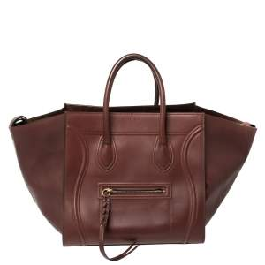 Celine Burgundy Leather Medium Phantom Luggage Tote