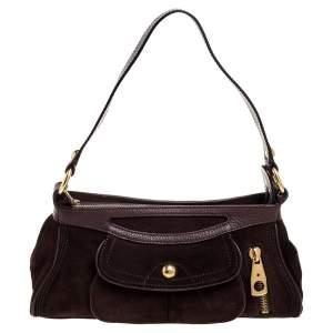 Celine Dark Brown Suede and Leather Front Pocket Baguette Shoulder Bag