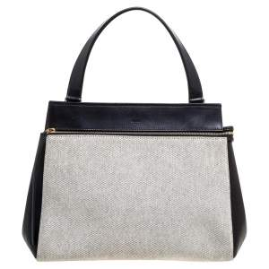 Celine Black/Ivory Leather and Canvas Medium Edge Top Handle Bag