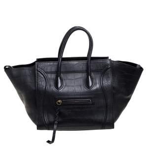 حقيبة يد لاغيدج سيلين فنتوم متوسطة جلد نقش تمساح سوداء