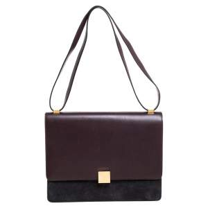 Celine Dark Burgundy/Grey Leather And Suede Medium Case Shoulder Bag