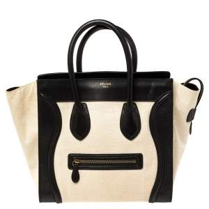 Celine Beige/Black Canvas and Leather Mini Luggage Tote