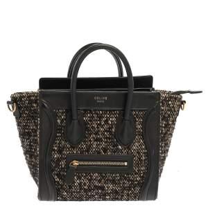 Celine Black/Beige Tweed and Leather Nano Luggage Tote