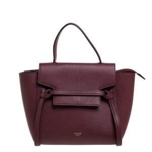 Celine Burgundy Leather Nano Belt Top Handle Bag