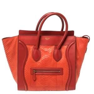 Celine Red Python Mini Luggage Tote