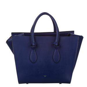 Celine Blue Leather Tie Small Tote