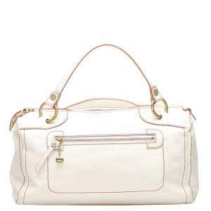 Celine White Grained Leather Vintage Handle Bag