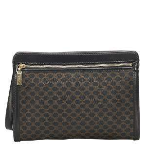 Celine Brown/Black Canvas Macadam Clutch Bag