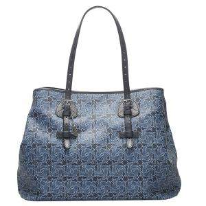 Celine Blue Canvas Carriage Tote Bag
