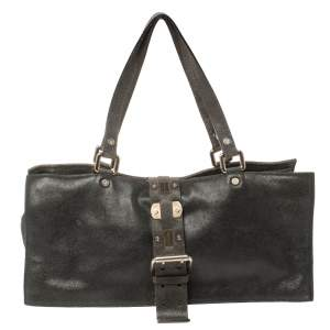 Celine Black Nubuck Leather Buckle Flap Tote