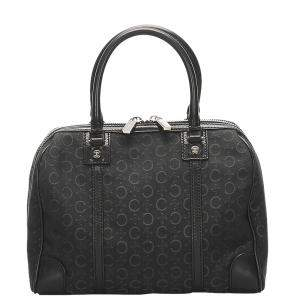 Celine Black Monogram Canvas Vintage Macadam Satchel