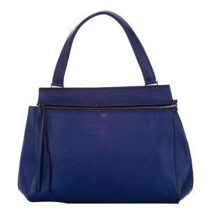 Celine Blue Leather Medium Edge Top Handle Bag