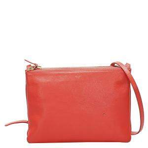 Celine Orange Leather Trio Crossbody Bag
