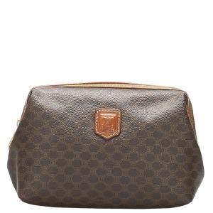 Celine Brown Macadam Canvas Clutch Bag