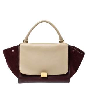 Celine Burgundy/Beige Leather and Suede Medium Trapeze Bag