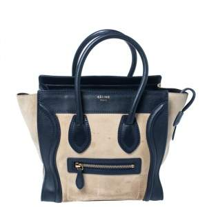 Celine Beige/Navy Blue Suede and Leather Micro Luggage Tote