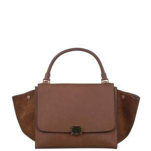 Celine Brown Leather Trapeze Medium Satchel Bag