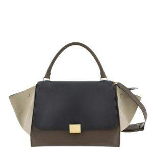 Celine Tricolor Leather Trapeze Satchel Bag