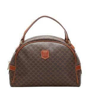 Celine Brown Coated Canvas  Macadam Satchel Bag
