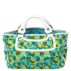 حقيبة يد سيلين بوجى جلد نعام وكانفاس مطبوع متعدد الألوان