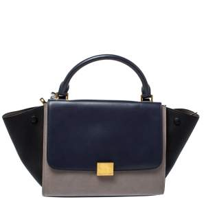 Celine Tricolor Leather Medium Trapeze Top Handle Bag