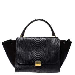 Celine Black Python and Suede Medium Trapeze Top Handle Bag