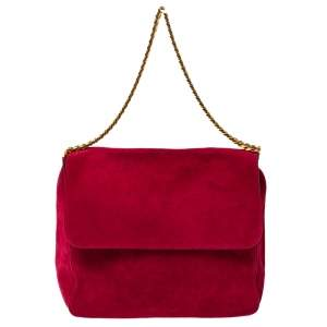 Celine Red Suede Gourmette Shoulder Bag