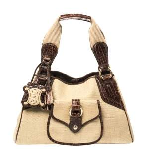 Celine Brown/Beige Canvas and Croc Embossed Leather Boogie Tassel Tote