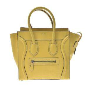 Celine Yellow Leather Luggage Micro Tote Bag