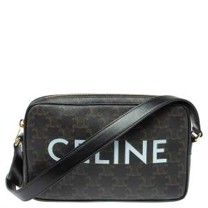 Celine Black Triomphe Coated Canvas Medium Messenger Bag