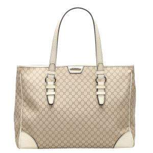 Celine Beige Macadam Canvas Tote Bag