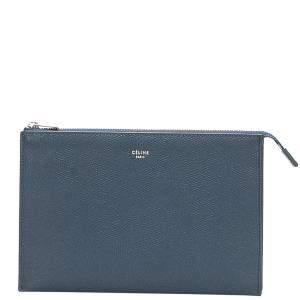 Celine Blue Leather Soft Trio Rolled Clutch Bag