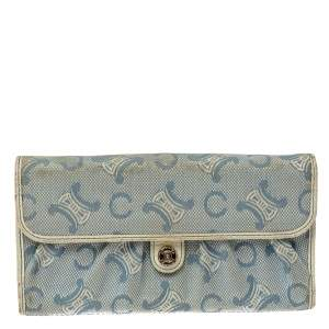 Celine Blue Macadam Denim and Leather Trim Continental Wallet