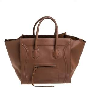 Celine Brown Leather Medium Phantom Luggage Tote