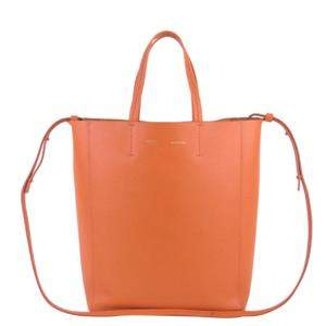 Celine Orange Leather Vertical Cabas Small Tote Bag