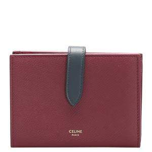 Celine Red Leather Multifunction Strap Wallet