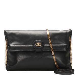 Celine Black Leather Chain Shoulder Bag