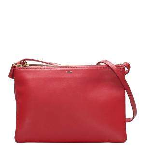 Celine Red Leather Trio Bag