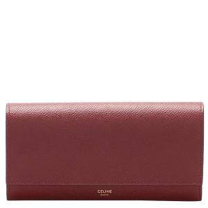 Celine Red Leather Long Wallet