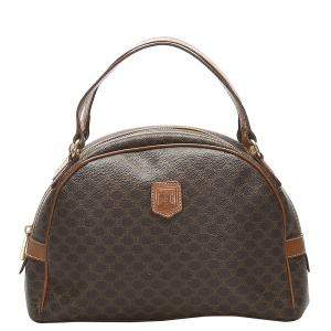 Celine Brown Macadam Coated Canvas Satchel