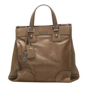 Celine Brown Leather Orlov Tote Bag