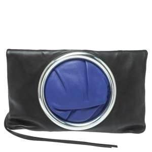 Celine Black Leather Eyelet Fold Over Clutch
