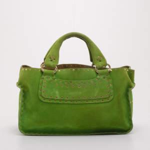 حقيبة سيلين بوغي مرصعة سويدي خضراء