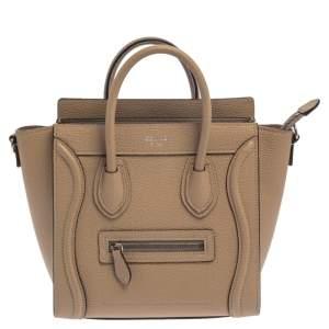 Celine Beige Leather Nano Luggage Tote